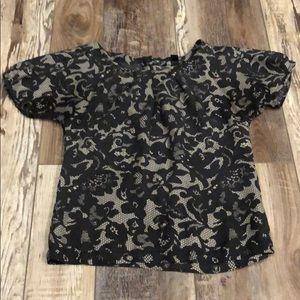 Banana Republic Lace Print Silk Top Blouse Sz XS